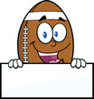 American Football Ball Cartoon Character Over Blank Sign