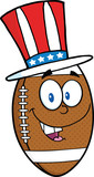 American Football Ball Cartoon Character With Patriotic Hat