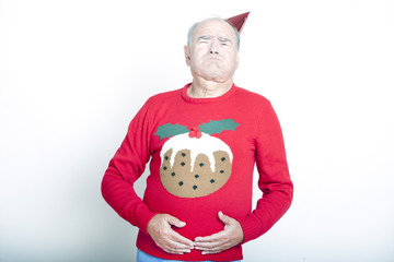 Senior Adult Man indicating that he is full up