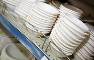 Kitchenware on shelf in supermarket