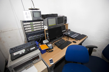 Computer and audio equipment in television studio