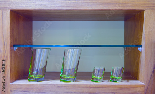 Oblique glasses in glass case