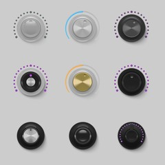 sound dials set vector