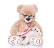 Teddybär isoliert mit Brille als Kinderarzt mit Baby