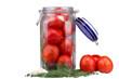 Fresh tomatoes in a glass jar