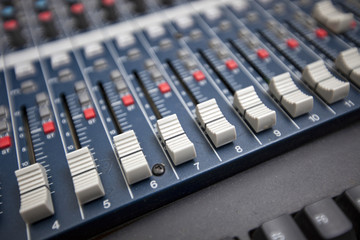Close-up of sound mixing equipment in television studio