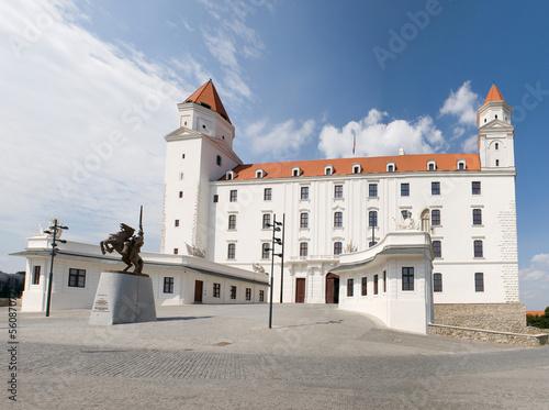 Bratislava castle with statue of King Svatopluk