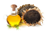 Sunflower oil and sunflower with seeds