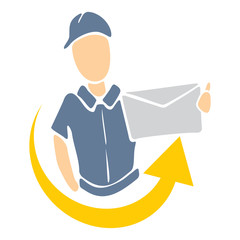 Illustration of delivery man handing package
