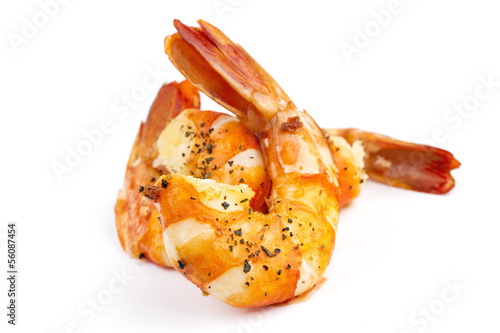 cooked unshelled tiger shrimps isolated on white