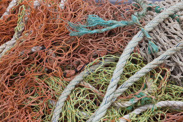 Close-up view of fishing rope and nets