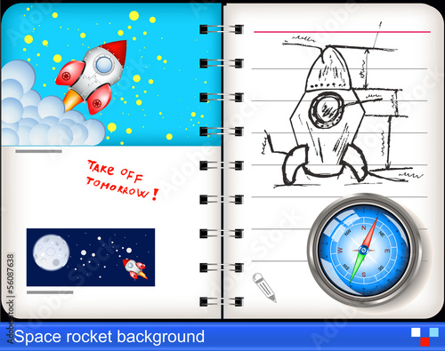 space rocket notebook  background.