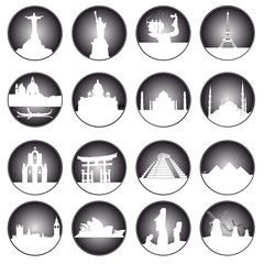 gray buttons of famous places in the world