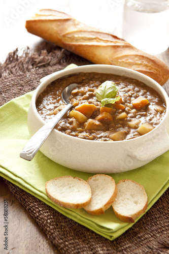 Fresh lentil soup with potato and carrots