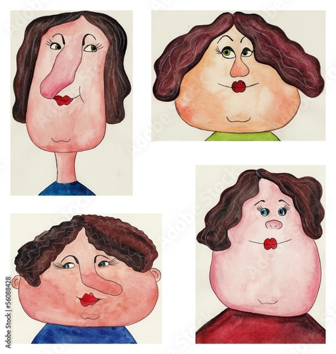 avatars. watercolors on paper
