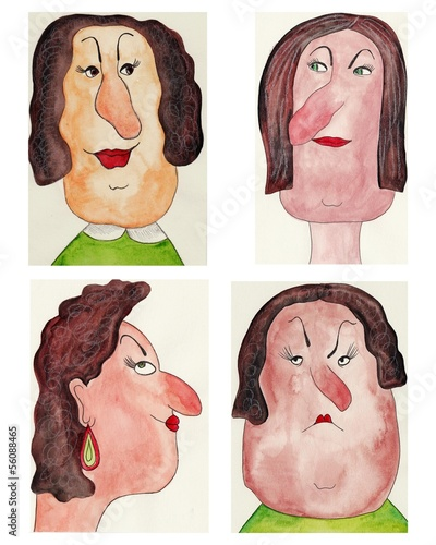 avatars. watercolors on paper