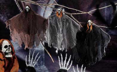 halloween scene on dark background