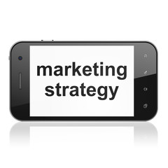 Advertising concept: Marketing Strategy on smartphone