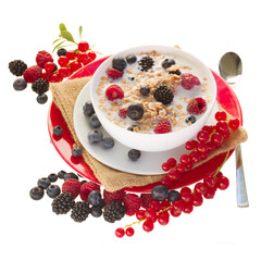The oat flakes with berries