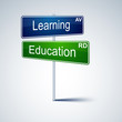 Learning education direction road sign.