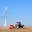 canvas print picture - Landwirtschaft und Industrie / Windräder