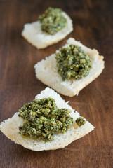 Pesto on slices of bread