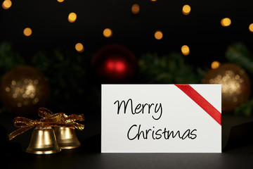 Christmas background with greeting card