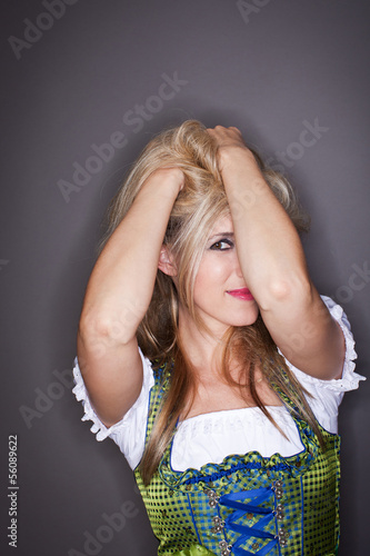 Modern party girl in a dirndl