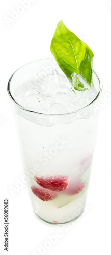raspberry and  basil cocktail