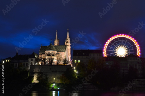 Basel Cathedral and Giant Wheel during the Autumn Fair,
