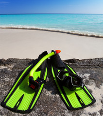 Accessory for Snorkeling-mask,flippers,tube-lay on sand
