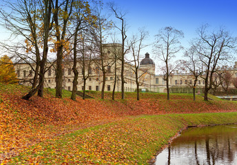 Russia. Saint-Petersburg. Gatchina. Autumn in palace park..