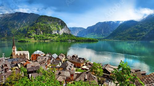 panoramic view of Hallstatt - beautiful Alpen village. Austria