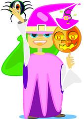 Niña gozando en Halloween
