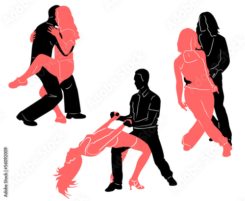 Social dancing. Vector silhouettes for your design
