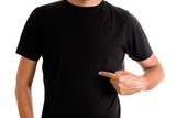 Man in blank black t-shirt