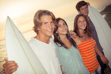 Group of Friends with Surf Boards..