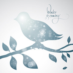 Winter is coming / Surreal illustration of snowy bird