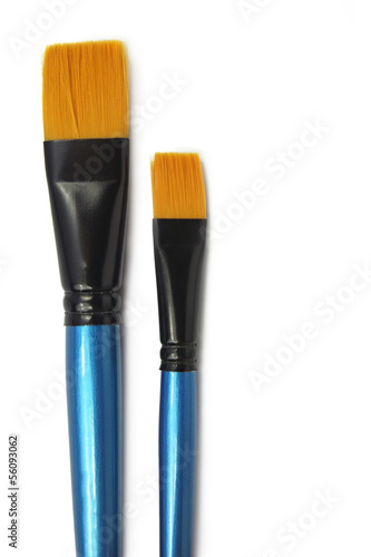 two paint brushes isolated on white background