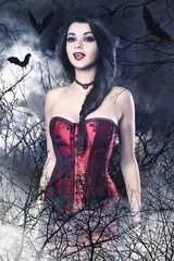 Beautiful brunette woman as vampire