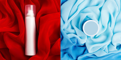 Arty collage of photos of beauty cream box and spray (aerosol)