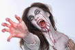 canvas print picture - Psychotic Bleeding Woman in a Horror Themed Image