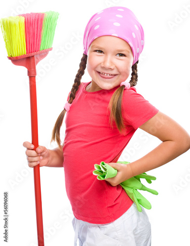 Young girl is dressed as a cleaning maid
