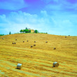 Tuscany, farm on hill, hay rolls and harvested fields. Italy.
