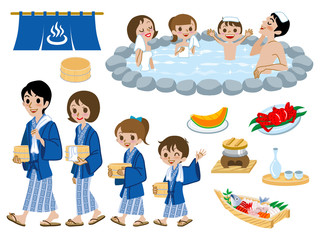 Japanese Hot Springs set ,family
