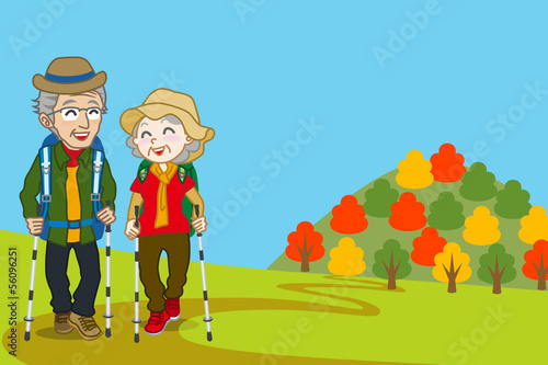 Senior couple walking  Mountain road in fall