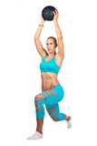 fit woman exercise with medicine ball