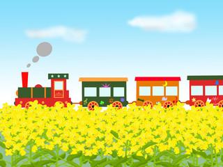 菜の花畑を走るメルヘン列車
