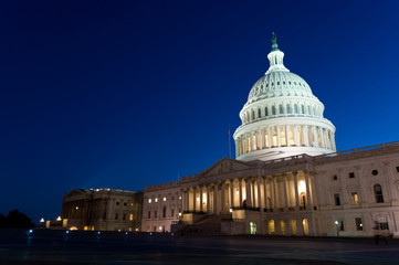 Night view on US Capitol in Washington DC, USA