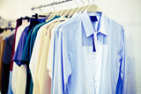 man shirts with tag on hangers, retouch vintage style poster
